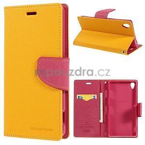 Peňaženkové puzdro pre mobil Sony Xperia Z3 - žlté - 1