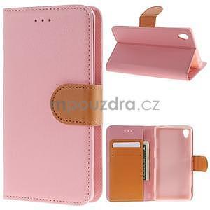 Koženkové puzdro pre Sony Xperia Z3 - ružové - 1