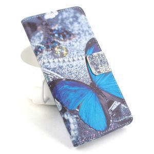 Lux peňaženkové puzdro pre mobil Acer Liquid Z520 - modrý motýľ - 1