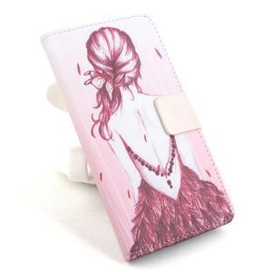 Lux peňaženkové puzdro pre mobil Acer Liquid Z520 - malovaná dievča red - 1