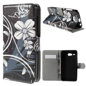 Nice koženkové puzdro pre mobil Acer Liquid Z520 - biele kvety - 1