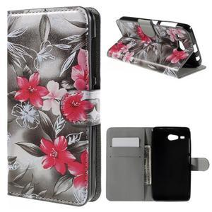 Nice koženkové puzdro pre mobil Acer Liquid Z520 - červené kvety - 1