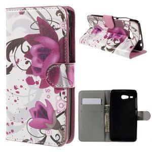 Nice koženkové puzdro pre mobil Acer Liquid Z520 - fialové kvety - 1