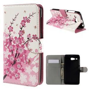 Nice koženkové puzdro pre mobil Acer Liquid Z520 - kvitnúca vetva - 1