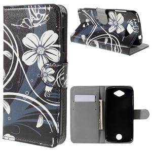 Valet peňaženkové puzdro pre Acer Liquid Z530 - biely kvet - 1