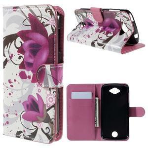 Valet peňaženkové puzdro pre Acer Liquid Z530 - fialové kvety - 1