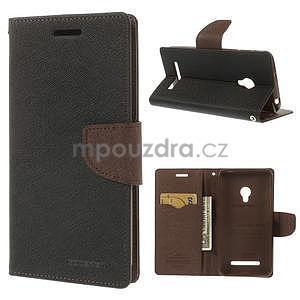 Čierné/hnedé peňaženkové puzdro na Asus Zenfone 5 - 1