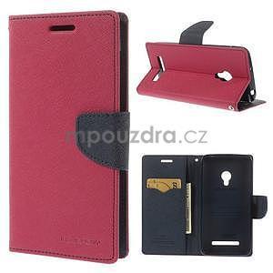 Rose/tmavě modré peňaženkové puzdro na Asus Zenfone 5 - 1