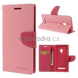 Růžové/rose peňaženkové puzdro na Asus Zenfone 5 - 1