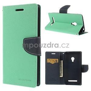 Azurové/tmavě modré peňaženkové puzdro na Asus Zenfone 5 - 1