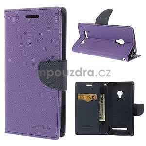 Fialové/tmavě modré peňaženkové puzdro na Asus Zenfone 5 - 1