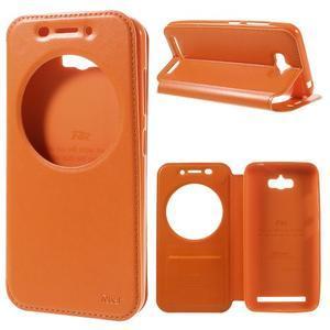 Luxusní puzdro s okienkom pre mobil Asus Zenfone Max - oranžové - 1