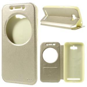 Luxusní pouzdro s okýnkem na mobil Asus Zenfone Max - zlaté - 1