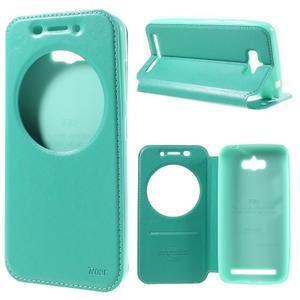 Luxusní puzdro s okienkom pre mobil Asus Zenfone Max - cyan - 1