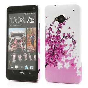 Plastový kryt na HTC One M7 - kvetoucí větvička - 1