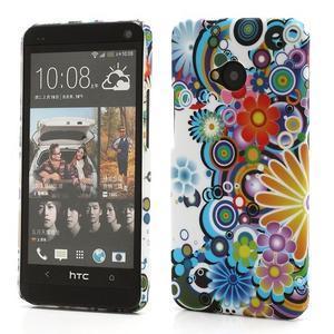 Plastový kryt pre HTC One M7 - kvety - 1