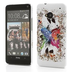 Plastový kryt na HTC One M7 -  barevní motýlci - 1