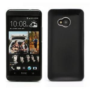 Broušený hliníkový plastový kryt pre HTC One M7 - čierny - 1