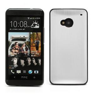 Broušený hliníkový plastový kryt na HTC One M7 - strieborný - 1