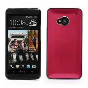 Broušený hliníkový plastový kryt pre HTC One M7 - červený - 1
