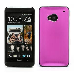 Broušený hliníkový plastový kryt pre HTC One M7 - rose - 1