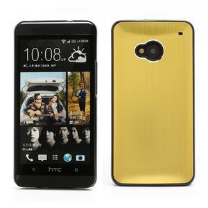 Broušený hliníkový plastový kryt na HTC One M7 - zlatý - 1