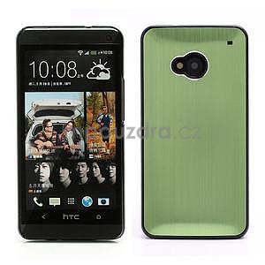 Broušený hliníkový plastový kryt na HTC One M7 - zelený - 1