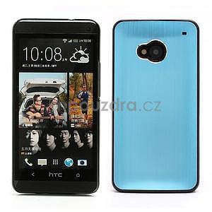 Broušený hliníkový plastový kryt na HTC One M7 - světle modrý - 1