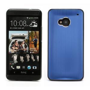 Broušený hliníkový plastový kryt pre HTC One M7 - modrý - 1