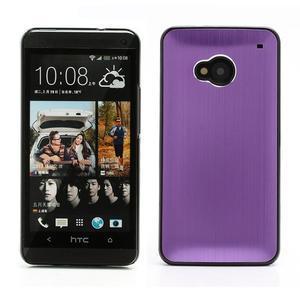 Broušený hliníkový plastový kryt na HTC One M7 - fialový - 1