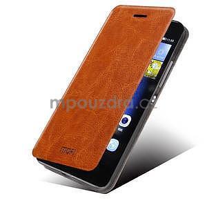 PU kožené pouzdro na Huawei P8 Lite - hnědé - 1