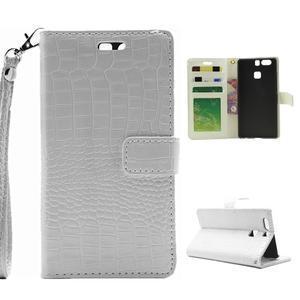 Croco peněženkové pouzdro na Huawei P9 - bílé - 1