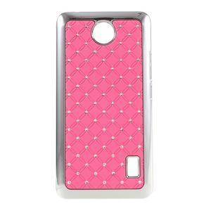 Drahokamový plastový kryt na Huawei Y635 -  ružový - 1
