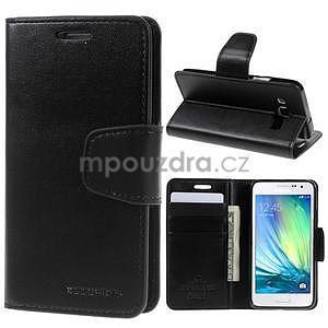 Čierné kožené peňaženkové puzdro pre Samsung Galaxy A3 - 1
