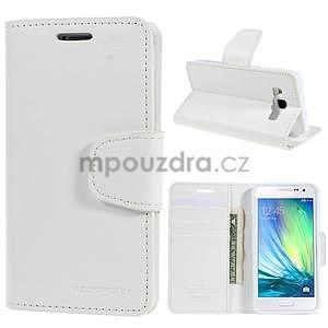 Bílé kožené peňaženkové puzdro pre Samsung Galaxy A3 - 1