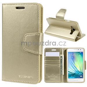 Zlaté kožené peňaženkové puzdro na Samsung Galaxy A3 - 1