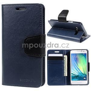 Tmavě modré kožené peňaženkové puzdro na Samsung Galaxy A3 - 1