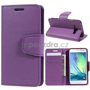 Fialové kožené peňaženkové puzdro na Samsung Galaxy A3 - 1