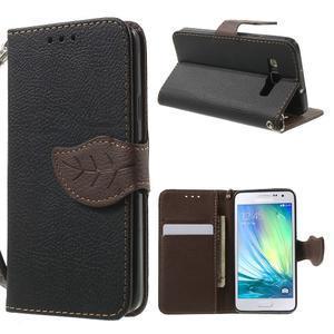 Čierné/hnedé kožené puzdro pre Samsung Galaxy A3 - 1