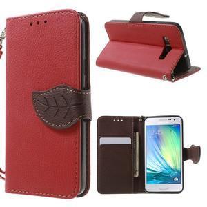 Červené/hnedé kožené puzdro pre Samsung Galaxy A3 - 1