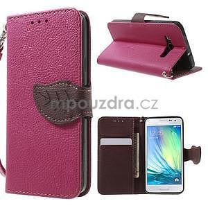 Rose/hnedé kožené puzdro na Samsung Galaxy A3 - 1