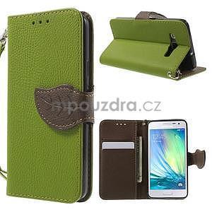 Zelené/hnedé kožené puzdro na Samsung Galaxy A3 - 1