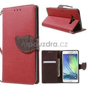 Červené/hnedé kožené puzdro na Samsung Galaxy A5 - 1