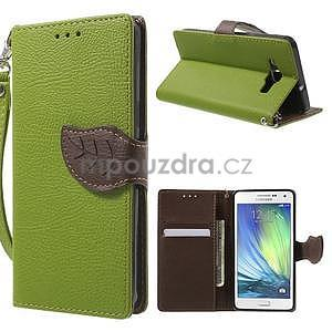 Zelené/hnedé kožené puzdro na Samsung Galaxy A5 - 1