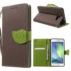hnedé/zelené kožené puzdro pre Samsung Galaxy A5 - 1