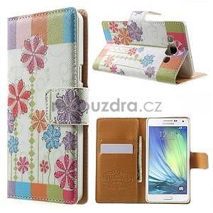 Peňaženkové zapínací puzdro na Samsung Galaxy A5 - farebné květiny - 1