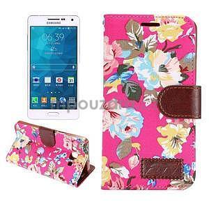 Kvetinové peňaženkové puzdro pre Samsung Galaxy A5 - rose - 1