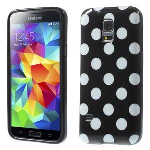 Černý puntíkatý gelový obal na Samsung Galaxy S5 mini - 1