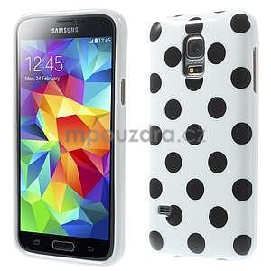 Biely puntíkatý gélový obal pre Samsung Galaxy S5 mini - 1