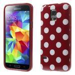Červený puntíkatý gélový obal pre Samsung Galaxy S5 mini - 1/5